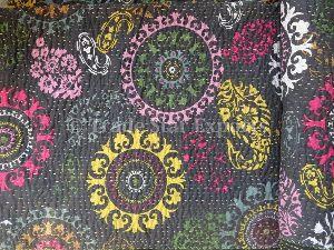 Indian Cotton Suzani Print Bedspread
