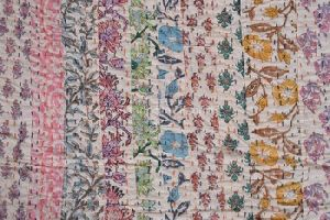 Jaipur Block Print Fabric Patchwork Quilt Bedspread