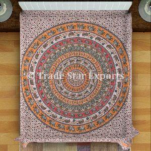 Kantha Embroidered Mandala Bedspread