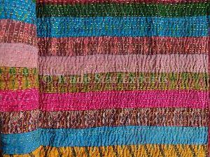 Patch Work Kantha Silk Bedspread