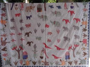 Patchwork Bedspread With Hand Embroidery
