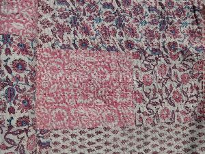 Pink Indian Block Print Cotton Bedspread