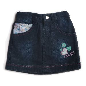 Girls Denim Dark Washed Skirt With Floral Embroidery