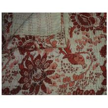 New Bird Paradise Burgundy Print Kantha Quilt Cotton Kantha Quilt Blanket