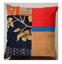 Vintage Bohemian Handmade Indian Cotton Kantha Cushion Pillow Cover