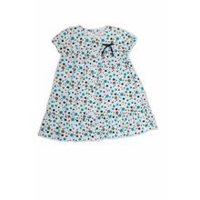 Organic Cotton Printed Girls Puff Sleeve Summer Dress