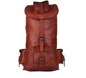 Long Leather Travel Backpack
