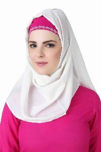 Meher White Crepe Hijab