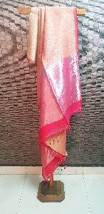Linen Cotton Saree With Zari Pallu