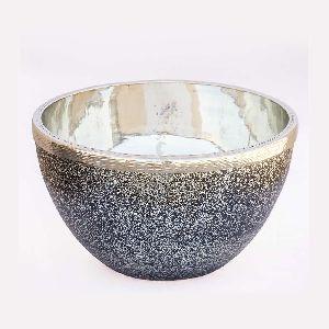 Silver Metallic Finish Glass Bowl