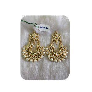 Traditional Fashion Kundan Pearl Beaded Imitation Lightweight Earring