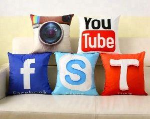 3d Social Networking Logos Printed Jute Cushion Cover