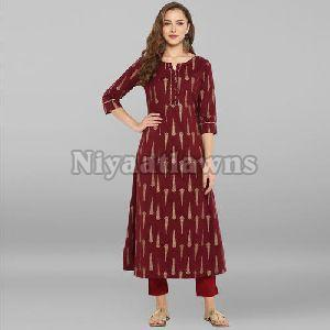 Party Wear Foil Print Designer Cotton Anarkali Kurti