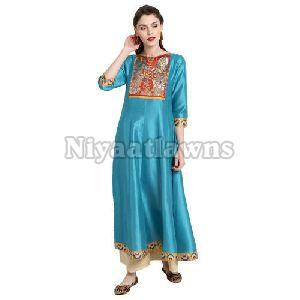 Poly Silk Party Wear Ladies Printed Anarkali Kurti