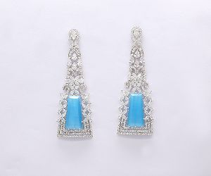 White Plated Blue Stone Earring