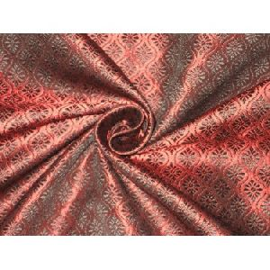 Brocade fabric Black and Wine Red Colour