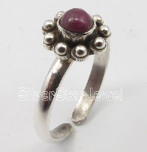 925 Stamped Solid Silver Ruby Gemstone Adjustable Toe Ring