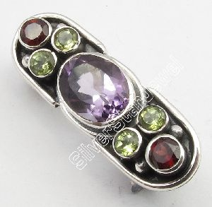 Sterling Silver Multistones Brooch