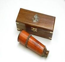 Brass Telescope With Wood Storage Case