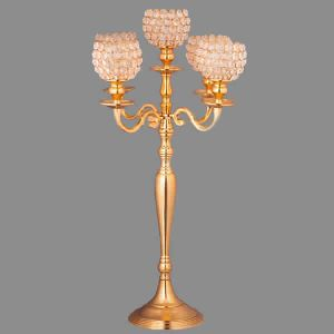 5 Arm Candelabra 90cm With Gold Crystal Votive