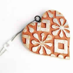 Wooden Heart Shape Abstract Printing Christmas Tree Decorative Hanging Ornament