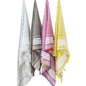 Ethnic Striped Hammam Fouta Towel With Pom Pom & Tassel