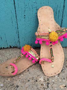 Pompom Flat Sandals