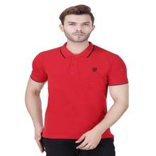 Red Collar T Shirt With Short Half Sleeves