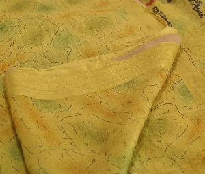 Indian Vintage Printed Saree 100% Pure Silk Fabric Craft Green Sari