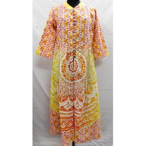 Bohemian Hippie Button Dresses Long Tunic Top Kurti