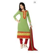 Long Sleeve Cotton Salwar Kameez Hand Embroidery