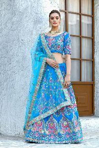 Designer Wedding Wear Blue Velvet Lehenga
