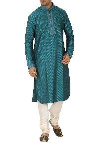 Traditional Teal Cotton Kurta Pajama