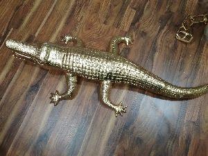 Gold Crocodile Sculpture