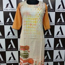 Flower Print Front Side Digital Printed Crepe Kurti