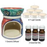 Ceramic Aroma Diffuser With 6 Pcs Candle And 3 Btl Oil