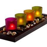 I 4-piece Jewel Tone Candle Tray With Genuine River Rocks