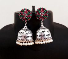 Stone Beaded Silver Plated Oxidize Earring