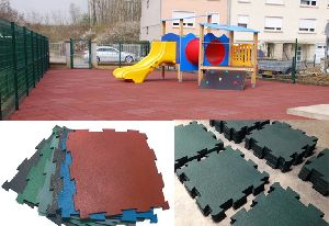 Recycled Rubber Interlocking Floor Tiles