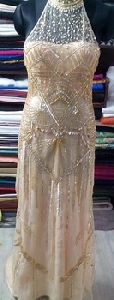 Pale Gold Heavy Beaded Evening Gown