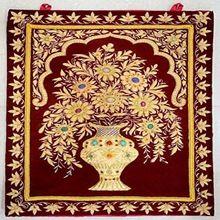 Semi Precious Stone Zari Work Handmade Jewel Carpet