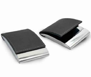 Business Card Holder Pu Leather N Metal Foldable