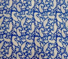 Hand Block Printed Cotton Fabric Paisley Print Indigo Fabric