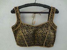 Black Sleeveless Brocade Saree Blouse With Bead Work
