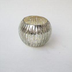 Ribbed Mercury Glass Votive Holder