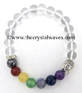 Crystal Quartz Round Beads Chakra Bracelet With Buddha Charm