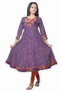 Purple Cotton Readymade Anarkali Suit