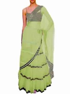 Black Embroided Choli Clubed With Light Green Net Lehenga And Attached Duptta