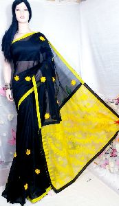 Handloom Cotton Silk Embroidery Dhakai Pallu Saree