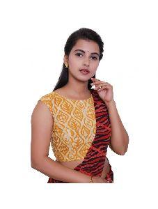 Golden Yellow Readymade Blouse For Cotton Saree-round Neck